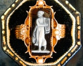 HOLD FOR SHARON - Antique Victorian Onyx Cameo and Pearl Ring