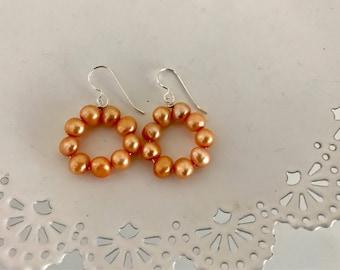 Peach Pearl Hoop Earrings | Pearl Statement Earring | Fresh Water Pearl Earrings | Circle Pearl Earrings | Pearl Earring