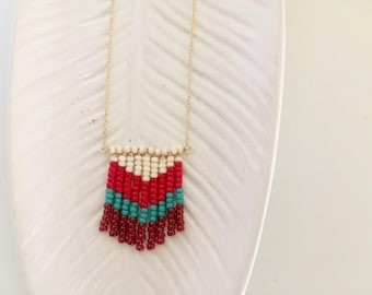 4th of July Jewelry | Beaded Chevron Necklace | Statement Necklace | Boho Necklace | Chevron Statement Necklace | Beaded Necklace