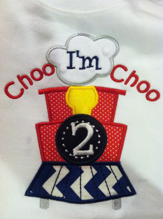 Embroidered Second Birthday Boy Choo Choo Train T-shirt Personalized with your child custom name