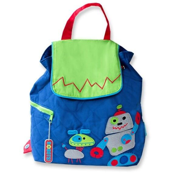 c4fea7cd02 Stephen Joseph Robot boys toddler backpack personalized monogrammed