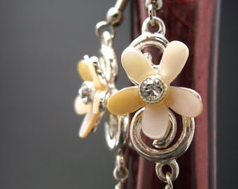 Mother of Pearl Swarovski Daisy Earrings with Dangling Pearls REDUCED PRICE