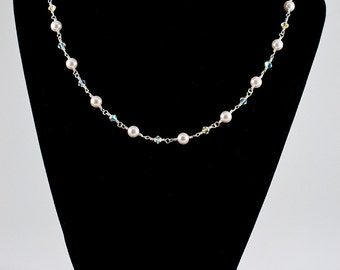 Twisted Pearl and Swarovski Necklace