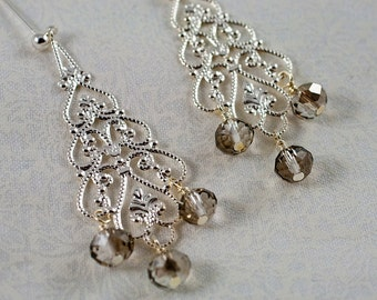 Sparkling Chandelier Earrings with Czech Glass Dangles
