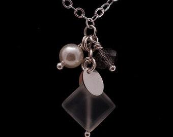 Diamond Moonstone & Charms Necklace