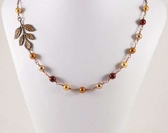 Fall Leaves and Pearls Necklace