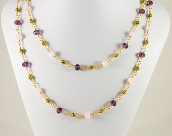 Gold, Pink and Purple Chinese Crystal Necklace