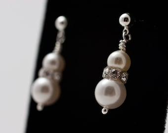Delicate Pearl & Swarovski Earrings