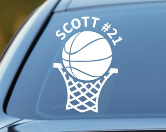 Basketball Decal, Personalized Basketball Decal, Basketball Car Decal, Sports Decal, Laptop Sticker, Sticker, Laptop Decal, Vinyl Decal
