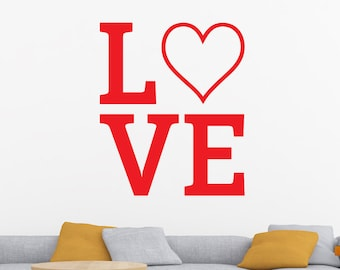 Love Wall Decal, Heart Decal, Love Heart Decal, Heart Wall Decal, Valentine's Day Decal, Valentine's Day Decor, Love Sticker, Vinyl Decal