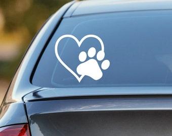 Heart Paw Decal, Dog Paw Decal, Dog Paw, Cat Decal, Cat Paw Decal, Dog Decal, Dog Car Decal, Cat Car Decal, Laptop Decal, Laptop Sticker