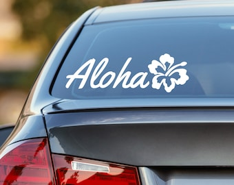 Aloha Decal, Hibiscus Decal, Aloha Car Decal, Hawaiian Flower Decal, Hawaii Decal, Laptop Sticker, Laptop Decal, Vinyl Decal, Window Sticker