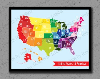 United States Map, USA, US, America, Art Print, Colors, Illustration, Educational, Geography, Children, Nursery, Baby, 50 States, Travel Map