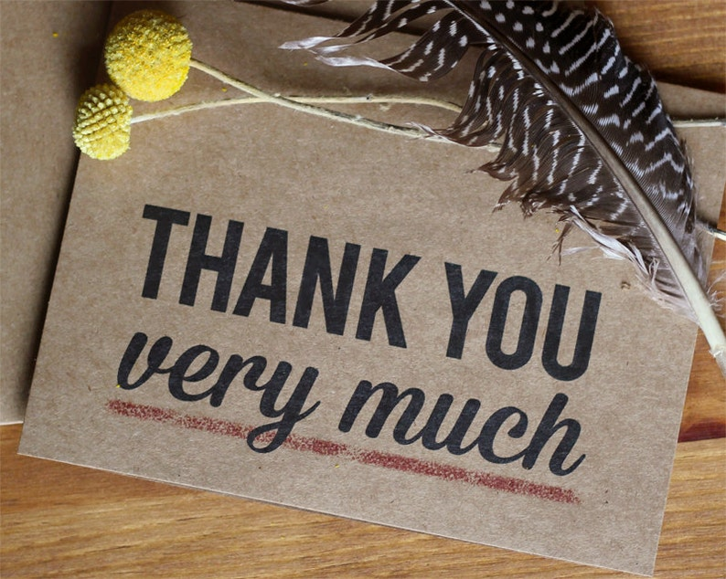 Thank You Very Much Kraft Thank You Cards Thank You Card Set of 20