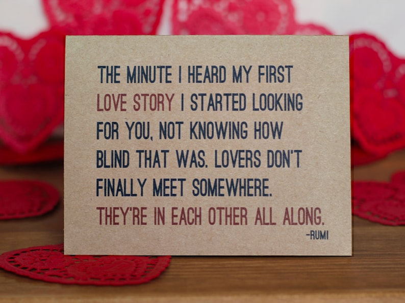 Lovers Card  Rumi Quote I Love You Romantic Valentine Card image 0