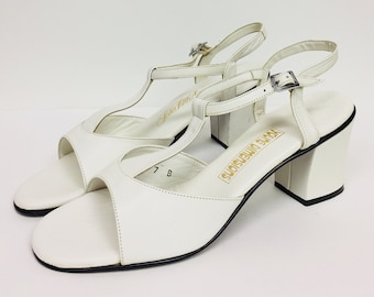 Vintage Saks Fifth Avenue Young Dimensions White T-strap Block Heels