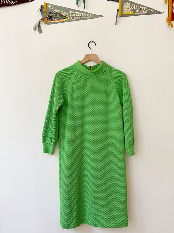1960's Green Mock Collar Dress, 1960's Women's Dre