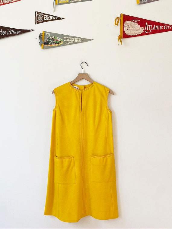 1960's Yellow Shift Dress with Belt, Yellow Dress,