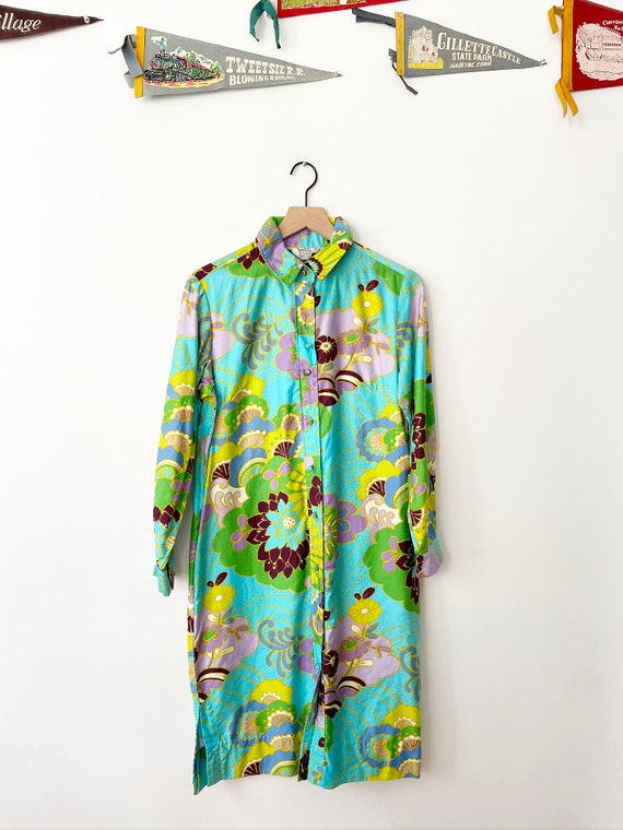 1960's Psychedelic Print Shirt Dress, 1960's Shirt