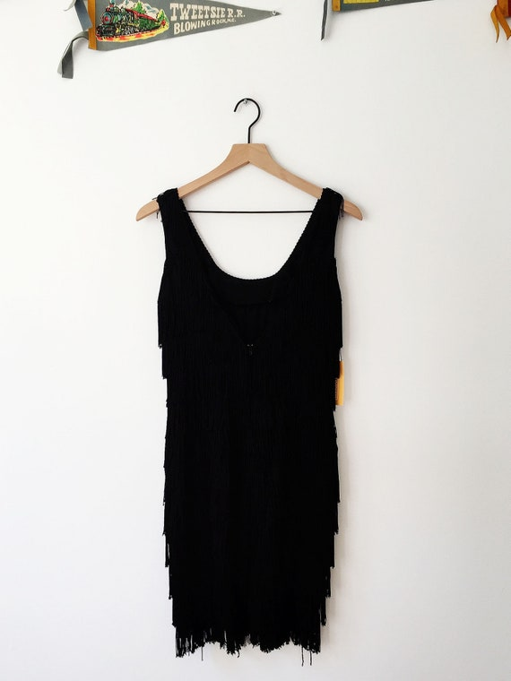 Black Fringe Flapper Dress, Black Fringe Dress, Bl