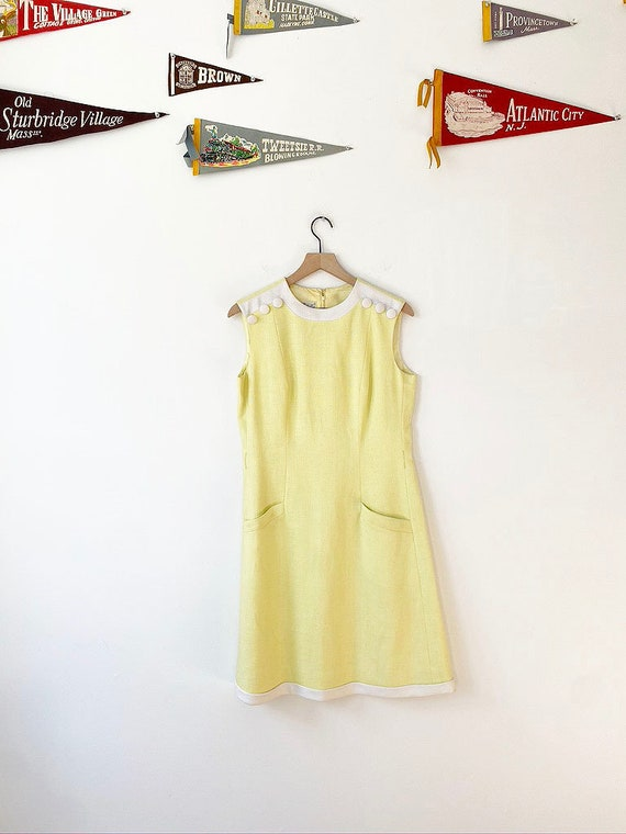 1960's Yellow and White dress, Vintage Yellow Dres