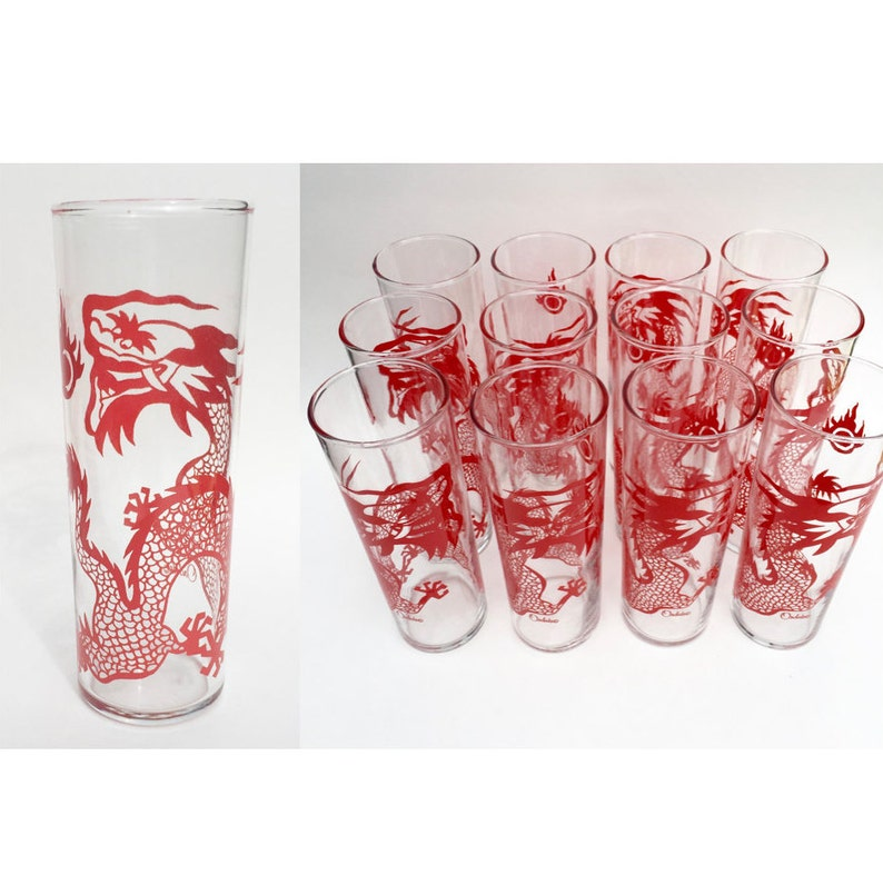 97cb95aa87 Vintage Red Dragon Glasses Orchid Dragon Collins Glass