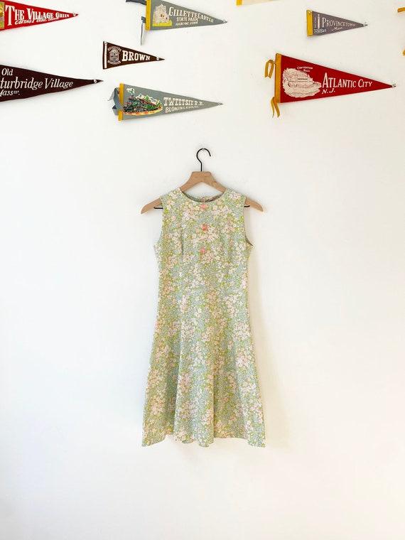 Mod Vintage Floral Dress with Gem Buttons, Vintage