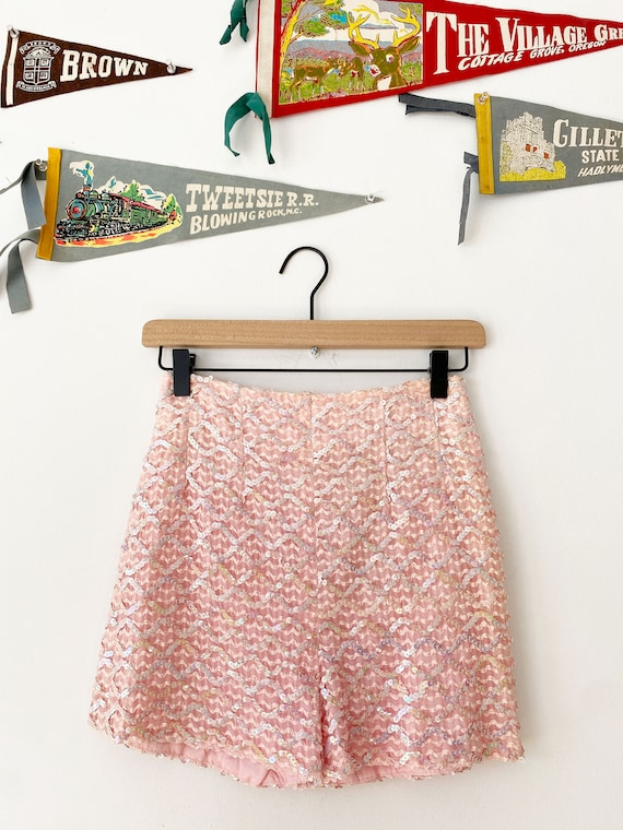 Pink 1960s Sequin Shorts, Hot Pants, Small, Disco