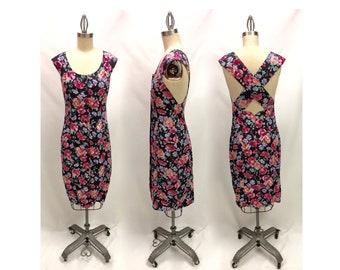 Vintage Laura Ashley 80s Floral Sheath Dress