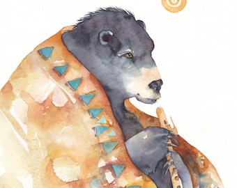 Watercolor 8 x 7 1/2 Giclee PRINT ''MYSTIC DREAMER' totem animal Native American peace pipe