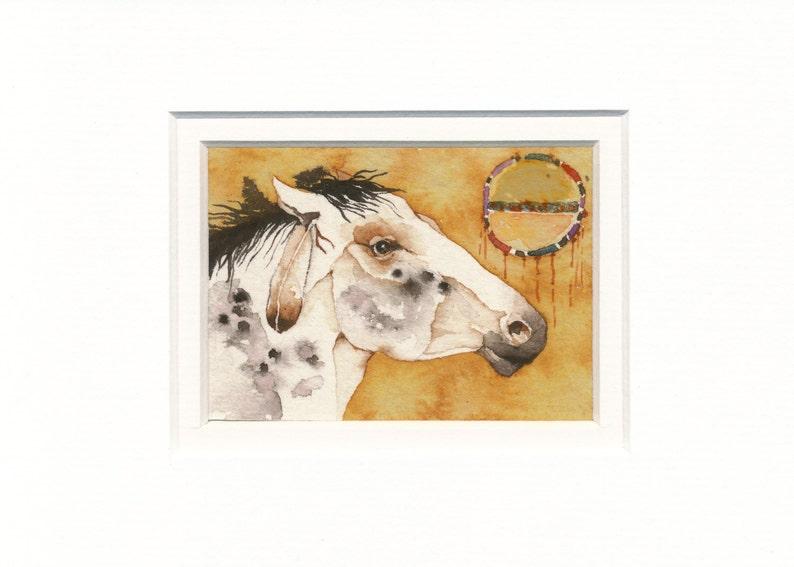 Free Shipping Spirit Dancer HORSE totem ACEO watercolor PRINT spirit animal wild mustang
