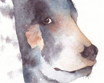 ACEO watercolor giclee PRINT spirit totem animal 'Mystic Bear' - Free Shipping