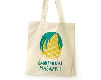 Pinapple tote bag hand screen printed perfect for the beach, Reusable shopping bag, Market bag, Pool bag, Fun tote bag, Handprinted by Olula