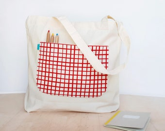 Reusable grocery bag with a front pocket in red made of organic cotton, Market bag, Zero waste bags, Shopper bags, Eco bag by Olula