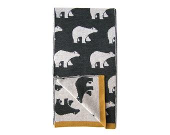 Polar Bears pattern scarf made of high quality Merino Wool, Womens merino scarf, Women scarf, Soft scarf, Polar bear scarf by Olula