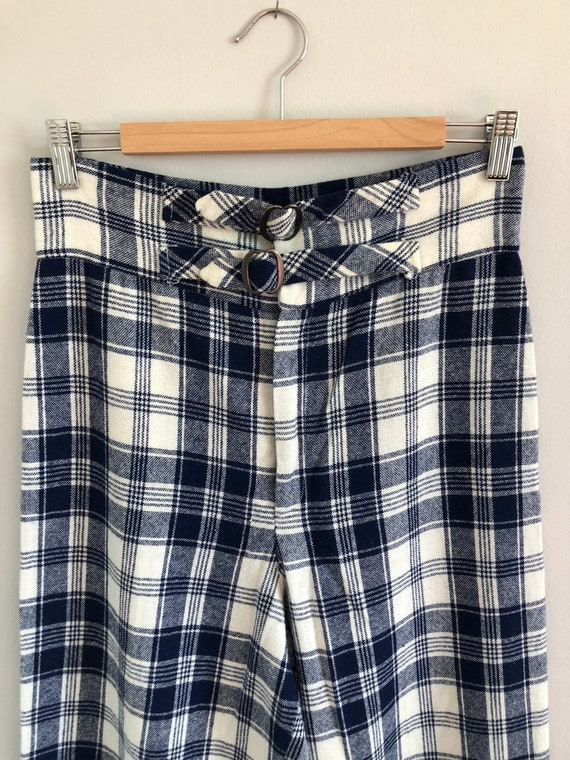 Vintage Woven Plaid High Waisted Wide Leg Trousers - image 6