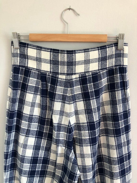 Vintage Woven Plaid High Waisted Wide Leg Trousers - image 7