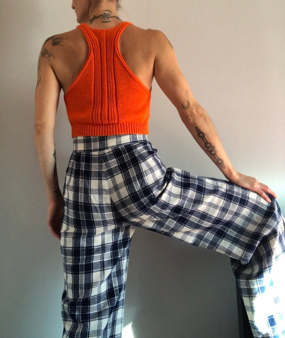 Vintage Woven Plaid High Waisted Wide Leg Trousers - image 2