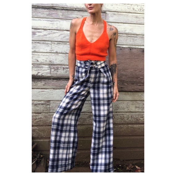 Vintage Woven Plaid High Waisted Wide Leg Trousers