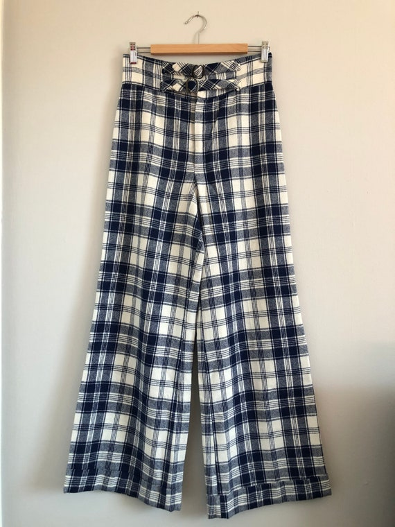 Vintage Woven Plaid High Waisted Wide Leg Trousers - image 4