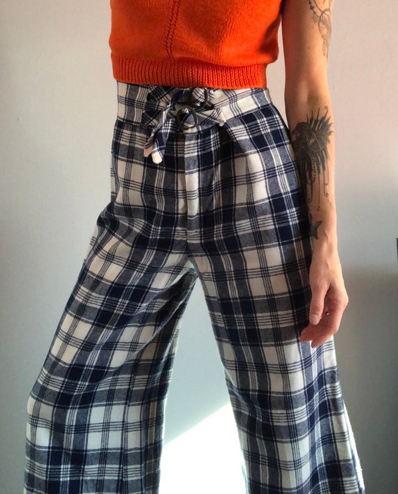 Vintage Woven Plaid High Waisted Wide Leg Trousers - image 3