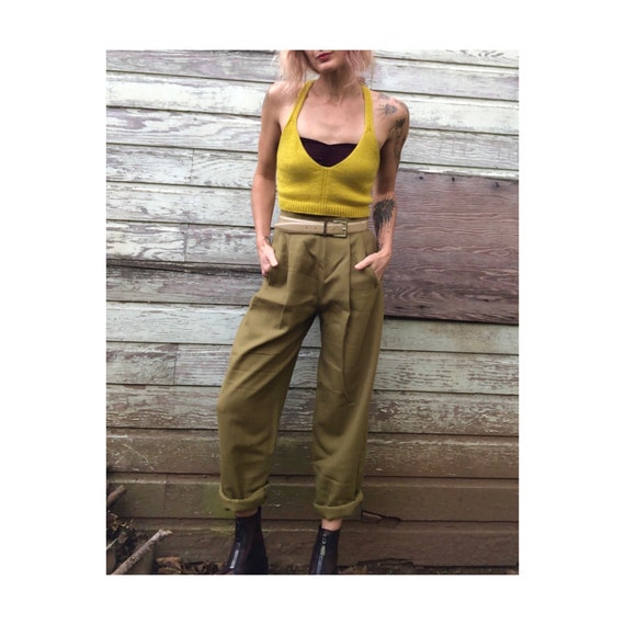 Vintage Avocado Wool High Waisted Tapered Trousers