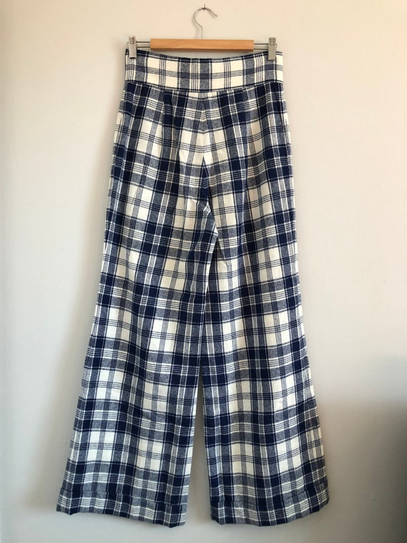 Vintage Woven Plaid High Waisted Wide Leg Trousers - image 5