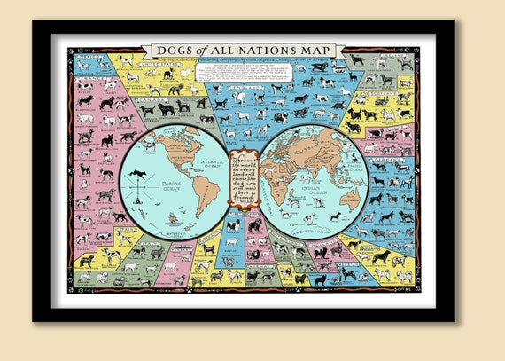 Poster Print World Dogs Breeds Of All Nations Map Puppy Pet Retro Wall Art Decor
