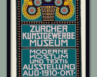 Art Nouveau Poster . 1910 Zurich Exhibition Poster A2 (60x40cm) Secession Style Print . Flower Print