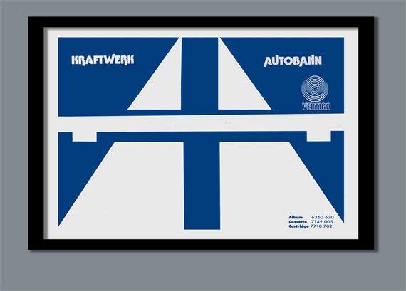 Kraftwerk Poster  Autobahn promo poster  A2 size  70s rock poster  Promo  poster  Album cover art  Classic rock  Kraftwerk print