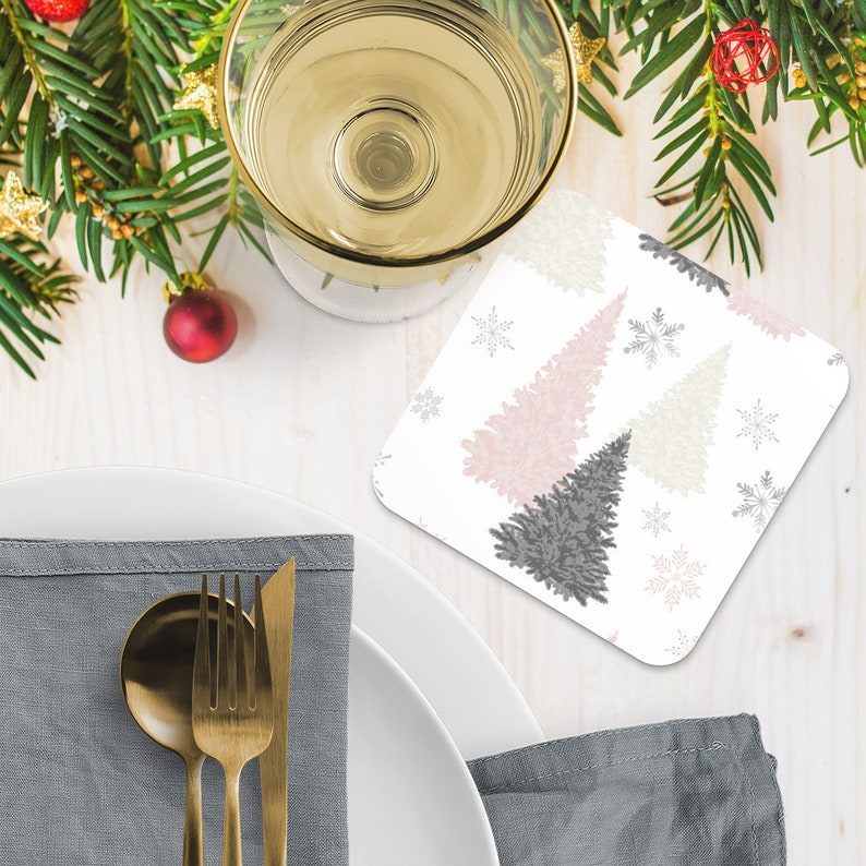 Christmas Coasters Snowflake Trees Design Drink Coasters image 0