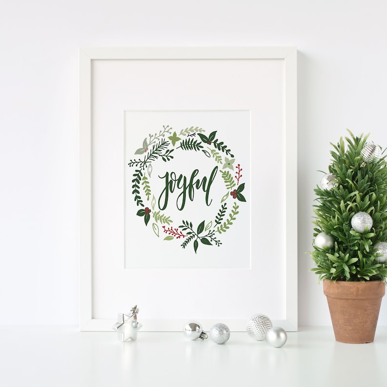 Printable Joyful Wreath decorHoliday Typography Decor  image 0