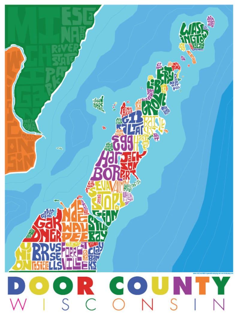 Door County Type Map | Etsy on