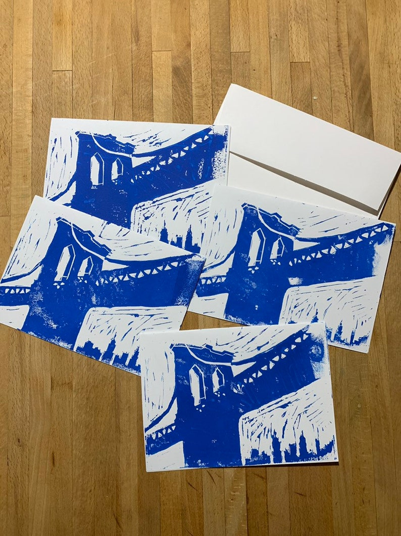 Brooklyn Bridge Hand printed blank cards birthday